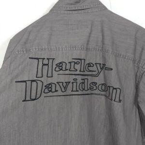 Harley-Davidson Mens Large Gray Button Down Collar